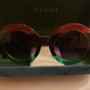 NEW Gucci Round Frame Sunglasses GREEN/RED